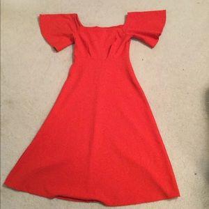 Zara Off Shoulder Orange Midi Flowy Dress Small
